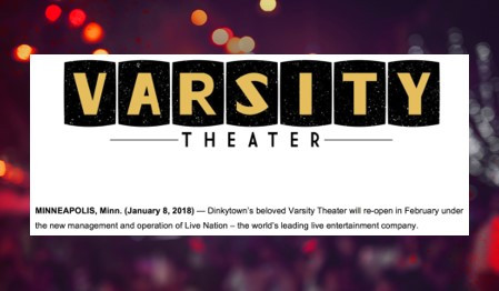 Varsity Theater to Re-Open in February 2018