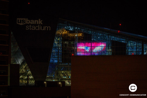 A view of the Team Logos projected on U.S. Bank Stadium