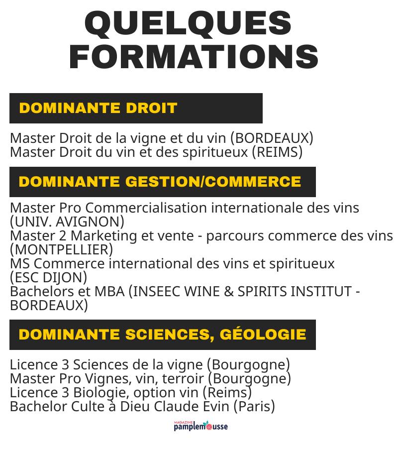 formations droit vins spiritueux métiers gestion