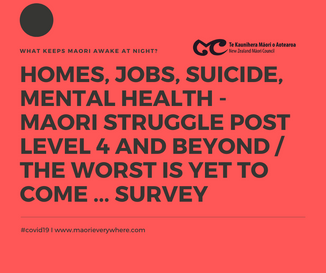 Maori in deep fear of losing jobs, homes RE COVID 19, Mistrust the Health System, Suicide & Ment