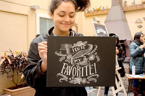 Taller virtual de lettering sobre pizarras (Nivel Básico)
