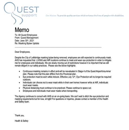 Quest Masking Bylaw Update Memo