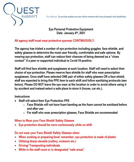 Eyewear PPE Jan 4/2020