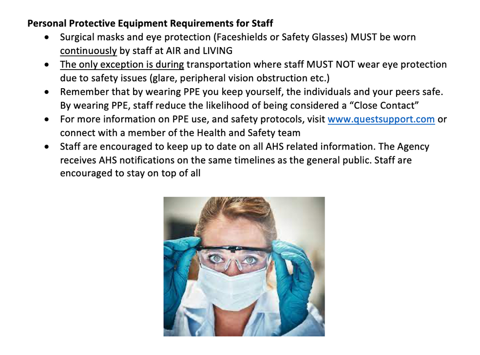 PPE Requirements for Staff