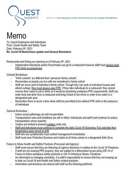 COVID Update Memo February 8, 2021
