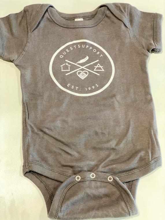 Grey Rabbit Skin Infant Onsie with White Logo