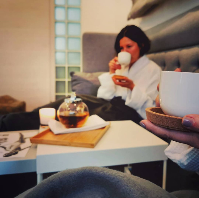 Tasse Tee nach der Behandlung