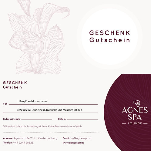 """Mein SPA"" Gutschein, SPA-Massage  60 min"