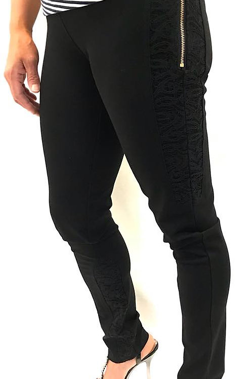 Black Skinny Jeans with Lace Detail
