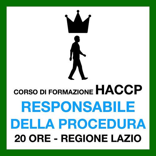 RESPONSABILE DELLA PROCEDURA HACCP - 20 ore