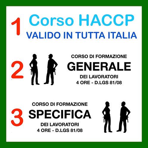 CORSO HACCP + FORMAZIONE 81 GENERALE E SPECIFICA