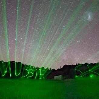 MY AUSSIE SKY WRITTEN with a GREEN LASER