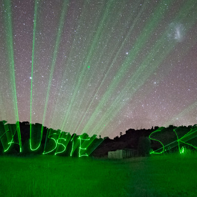 MY AUSSIE SKY WRITTEN with a GREEN LASER
