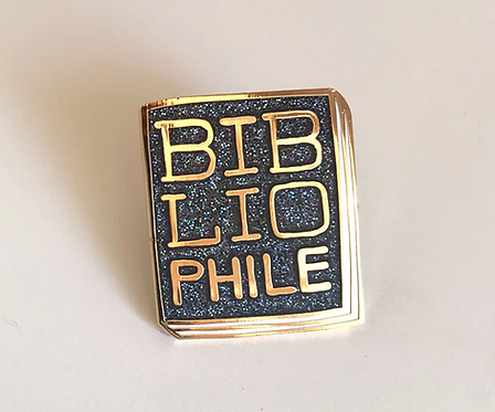 Book Pin: Bibliophile (dark and sparkly)