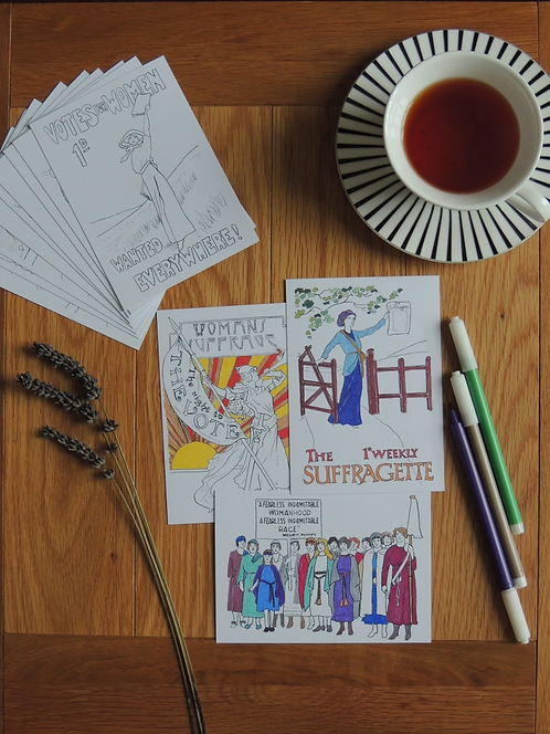 Suffragette colour-yourself postcard pack