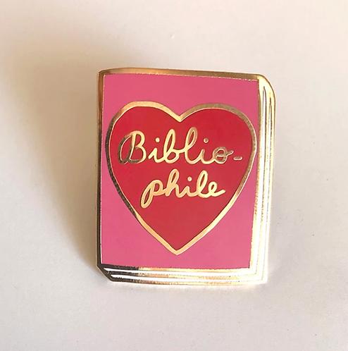 Book Pin: Bibliophile (pink/red)