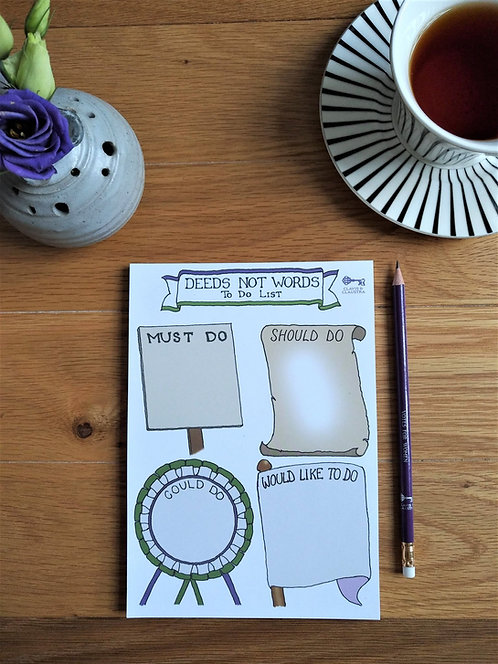 Deeds Not Words to-do list pad