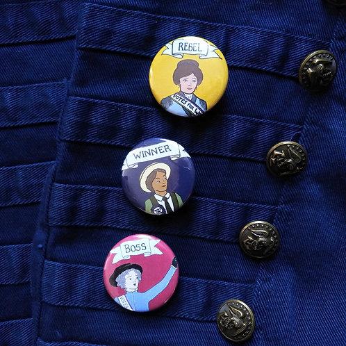 Suffragette Hero Badges