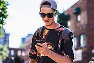 man texting