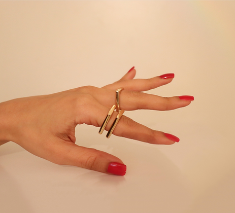 3 GOLD SQUARE RINGS