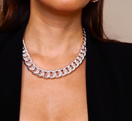 Chunky Worn Silver Chain Necklace