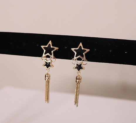 GOLD/BLK STAR TASSEL EARRINGSS