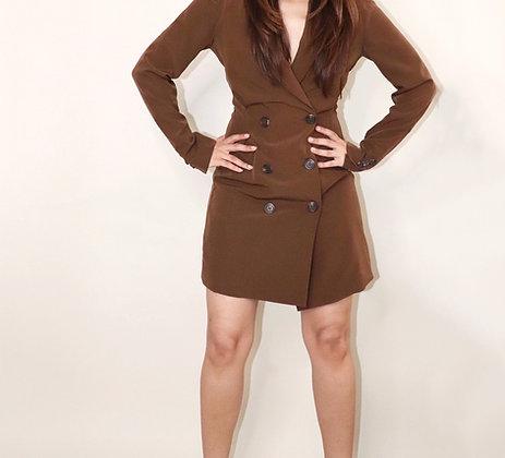 BROWN BLAZER DRESS