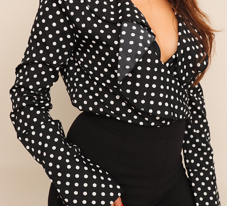 POLKA DOT RUFFLED BODYSUIT