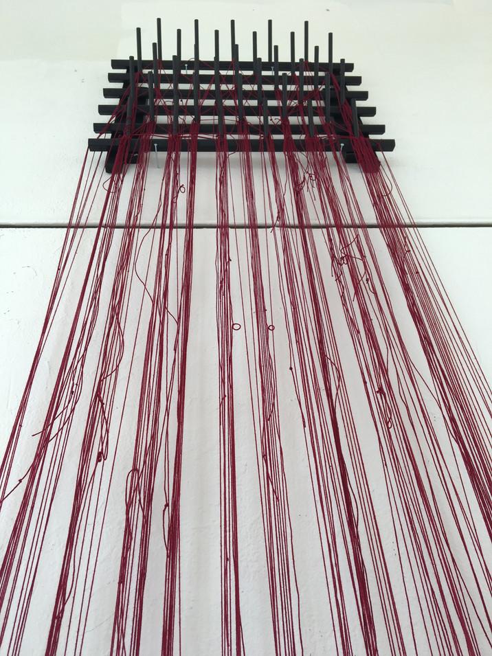 Hanging Memories. Photos, String, Wax, Wood, 2017.(Detail Shot)