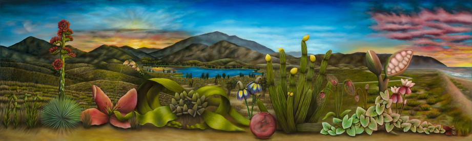 "South Bay, San Diego. Oil on Canvas, 120"" x 36"", 2020"