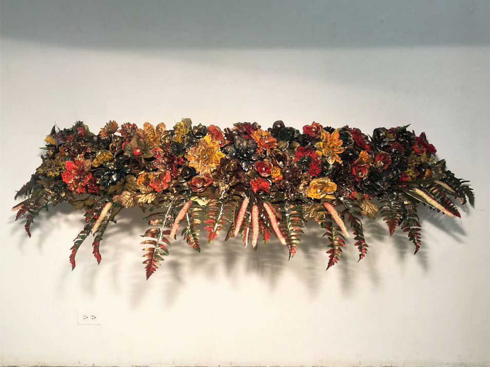 Nothing Gold Can Stay. Artificial Flowers, Wood Panel, Pearls/Beading, Gold Metallic Spray Paint and Wax, 60 x 15 x 14 inches, 2017.