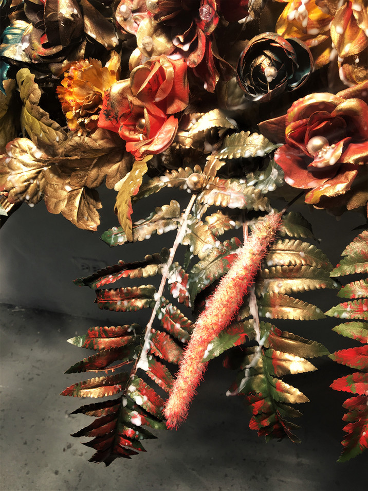 Nothing Gold Can Stay. Artificial Flowers, Wood Panel, Pearls/Beading, Gold Metallic Spray Paint and Wax, 60 x 15 x 14 inches, 2017.(Detail Shot)