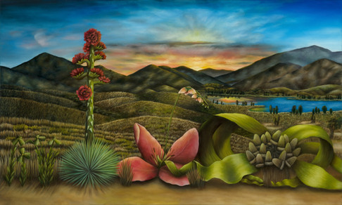 "South Bay, San Diego (Panel 1). Oil on Canvas, 60"" x 36"", 2019."