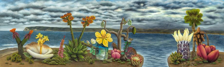 """Central San Diego. Oil on Canvas, 120"""" x 36"""", 2020"""