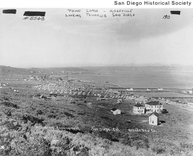 View of a military camp at Point Loma looking southeast toward downtow