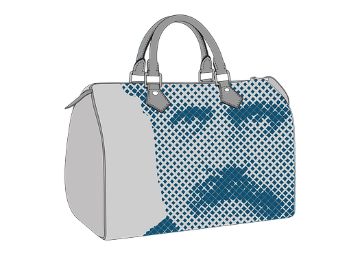 Louis on bag blue on grey.png