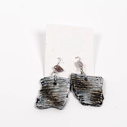 Grey Earrings w/ white stones