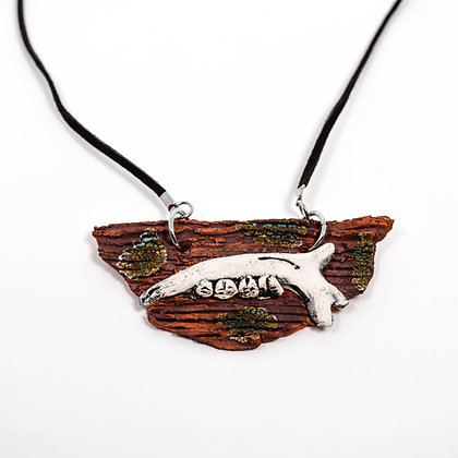"Brown Jaw Bone Necklace on 18"" Brown Leather Cord"
