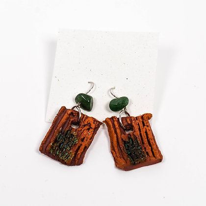 Small Brown Earrings w/ green stones
