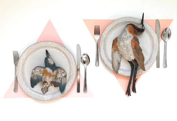 Sarah Conti, The Dinner Party (With Belted Kingfisher and Wilson's Phalarope)