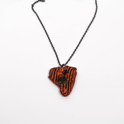 "Small Brown Pendant on 18"" Black Chain"