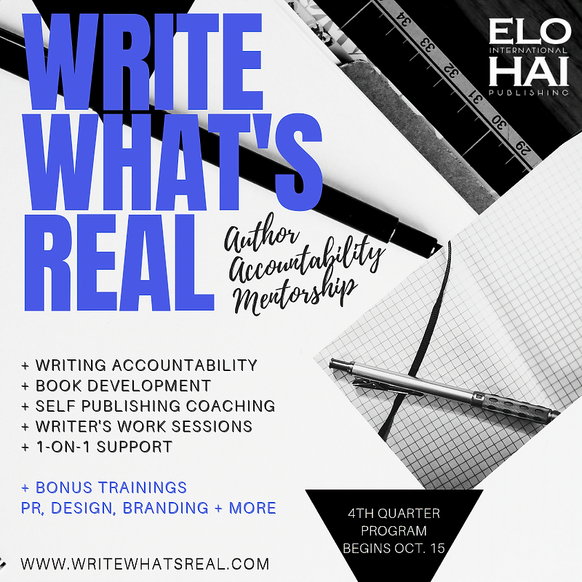 """Registration Open """"Write What's Real"""" Author Program"""