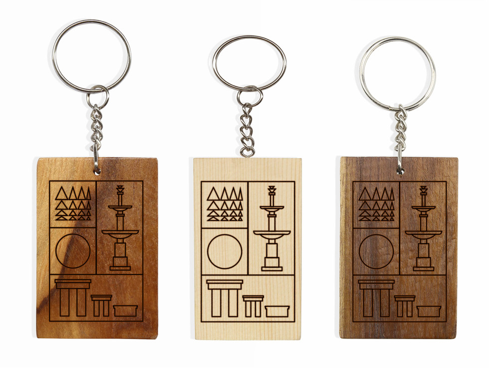 Wooden etched keychain variations