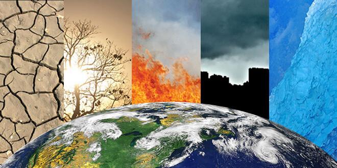 Arte gráfica que mostra a parte superior do planeta terra em primeiro plano. Em segundo plano há 5 divisões representando problemas ambientais. Da esquerda para a direita: solo rachado pela seca, sol forte atravessando os galhos secos de uma árvore, chamas altas de uma queimada, nuvem escura de poluição cobrindo a silhueta de prédios e uma geleira azul.