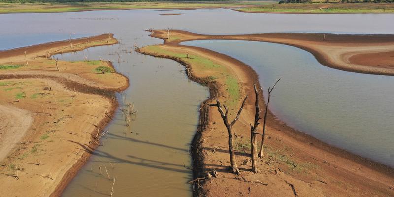 Fotografia que mostra três faixas de terra com alguns galhos secos e entre elas há faixas de alagamento com água barrosa.