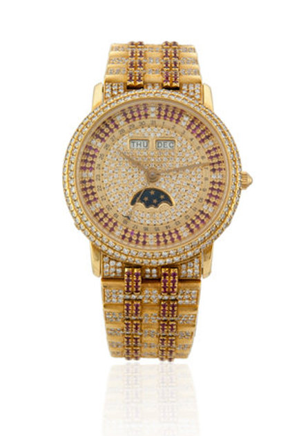 BLANCPAIN YELLOW GOLD GENTS MOONPHASE WITH RUBIES AND DIAMONDS