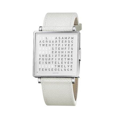 QLOCKTWO 35mm Pure White Fine Grain White Lady Wristwatch