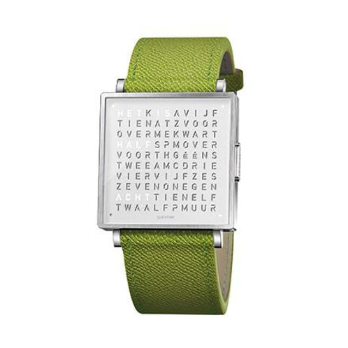 QLOCKTWO 35mm Pure White Fine Grain Green Lady Wristwatch