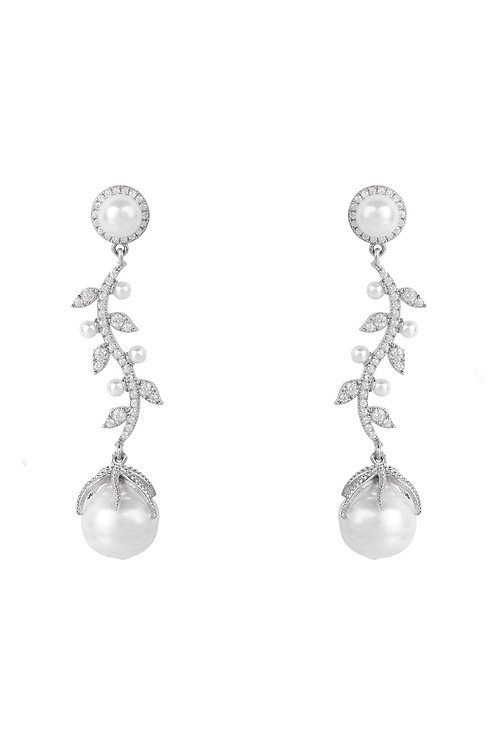 Baroque Pearl Trailing Flowers Earrings Silver