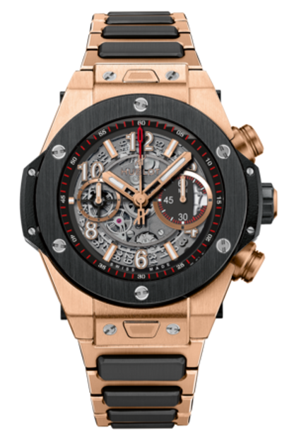 HUBLOT BIG BANG UNICO ROSE GOLD AND CERAMIC ON BRACELET